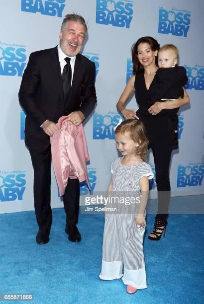 Actor Alec Baldwin Carmen Gabriela Baldwin Hilaria Baldwin and Rafael Thomas Baldwin attend 'The Boss Baby' New York premiere at AMC Loews Lincoln...