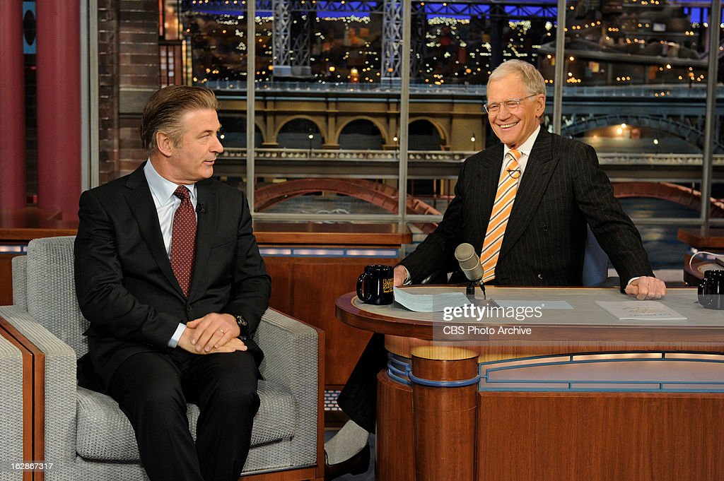 Actor Alec Baldwin chats with Dave on the Late Show with David Letterman Monday Feb. 25, 2013 on the CBS Television Network.