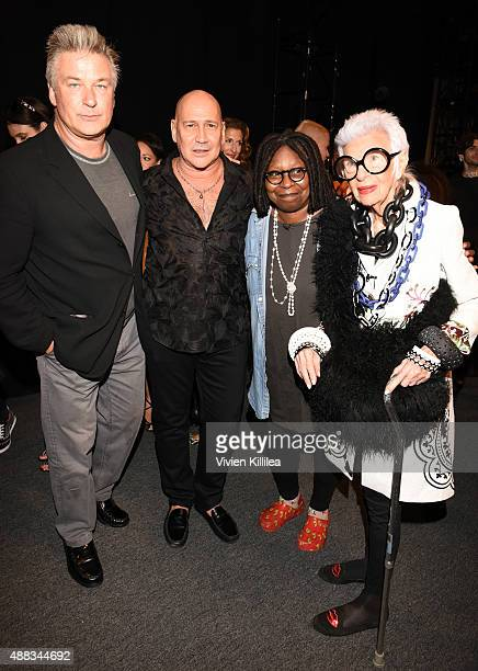 Actor Alec Baldwin designer Carmen Marc Valvo actress Whoopi Goldberg and Iris Apfel attend Carmen Marc Valvo Women's and Men's Collection S/S 2016...