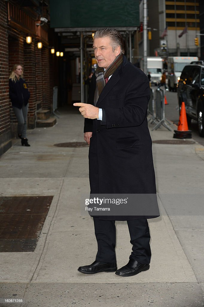 Actor Alec Baldwin enters the 'Late Show With David Letterman' taping at the Ed Sullivan Theater on February 25, 2013 in New York City.