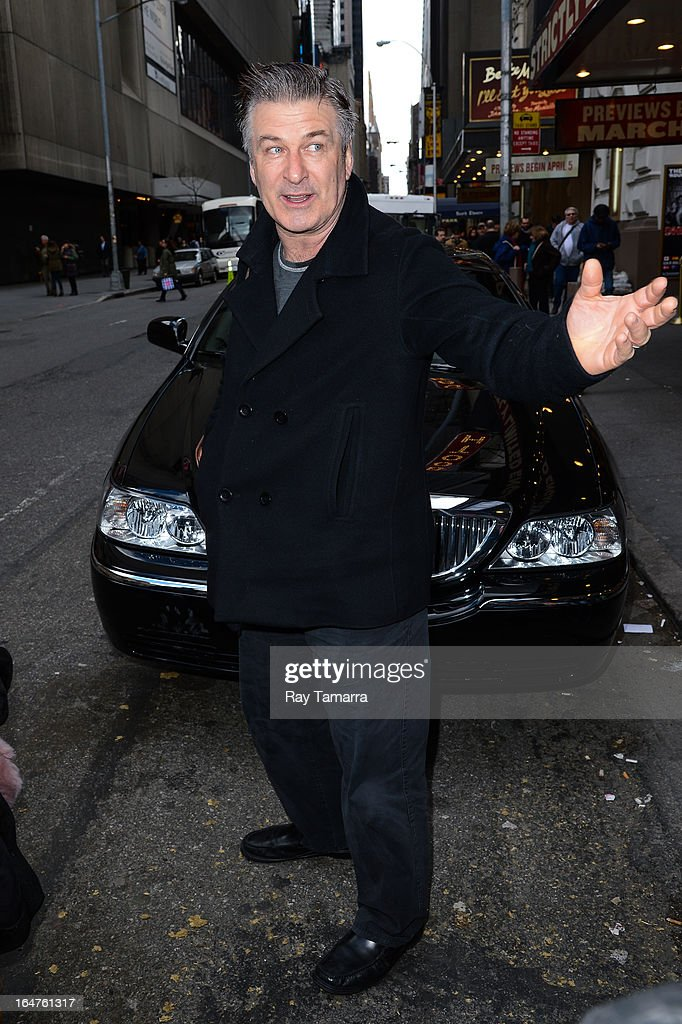 Actor Alec Baldwin enters the Schoenfeld Theater on March 27, 2013 in New York City.