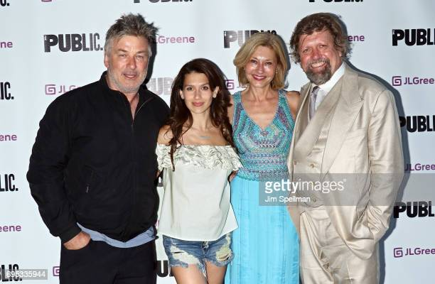 Actor Alec Baldwin Hilaria Baldwin Laurie Eustis and director Oskar Eustis attend the 'Julius Caesar' opening night at Delacorte Theater on June 12...
