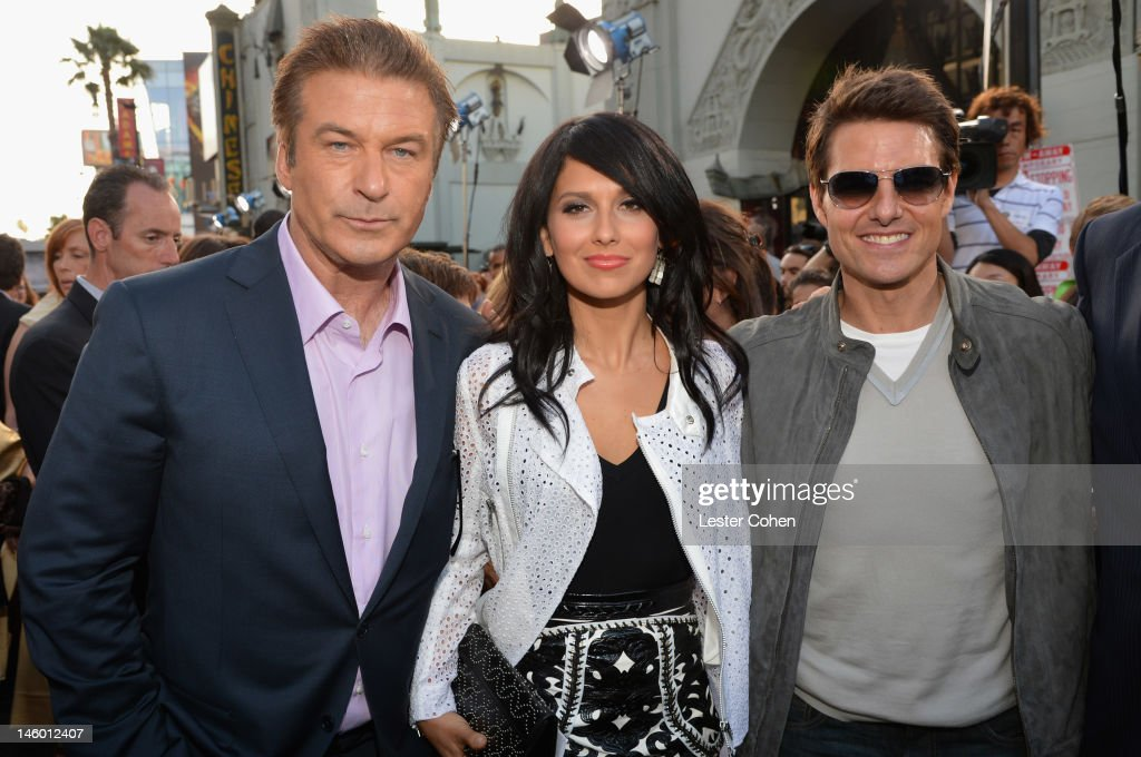 Actor <a gi-track='captionPersonalityLinkClicked' href=/galleries/search?phrase=Alec+Baldwin&family=editorial&specificpeople=202864 ng-click='$event.stopPropagation()'>Alec Baldwin</a>, Hilaria Thomas and actor <a gi-track='captionPersonalityLinkClicked' href=/galleries/search?phrase=Tom+Cruise&family=editorial&specificpeople=156405 ng-click='$event.stopPropagation()'>Tom Cruise</a> arrive at the 'Rock of Ages' Los Angeles premiere held at Grauman's Chinese Theatre on June 8, 2012 in Hollywood, California.
