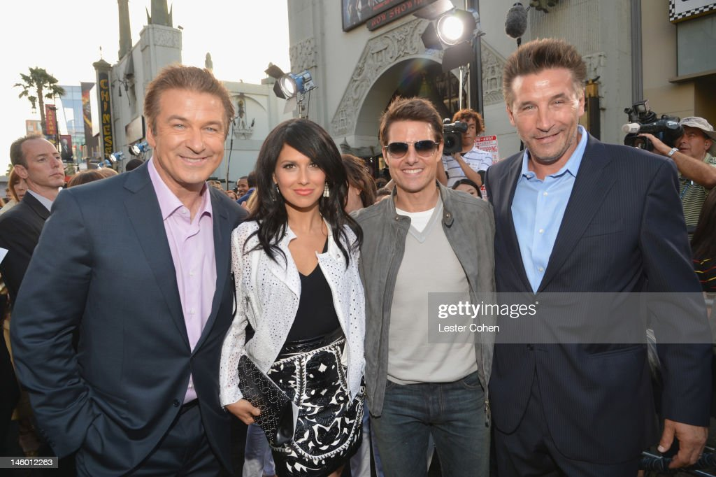 Actor <a gi-track='captionPersonalityLinkClicked' href=/galleries/search?phrase=Alec+Baldwin&family=editorial&specificpeople=202864 ng-click='$event.stopPropagation()'>Alec Baldwin</a>, Hilaria Thomas and actors <a gi-track='captionPersonalityLinkClicked' href=/galleries/search?phrase=Tom+Cruise&family=editorial&specificpeople=156405 ng-click='$event.stopPropagation()'>Tom Cruise</a> and <a gi-track='captionPersonalityLinkClicked' href=/galleries/search?phrase=Stephen+Baldwin&family=editorial&specificpeople=213776 ng-click='$event.stopPropagation()'>Stephen Baldwin</a> arrive at the 'Rock of Ages' Los Angeles premiere held at Grauman's Chinese Theatre on June 8, 2012 in Hollywood, California.