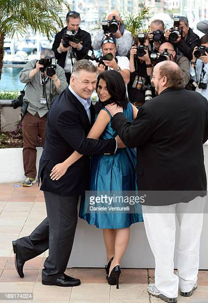 Actor Alec Baldwin his wife Hilaria and director James Toback attend the photocall for 'Seduced and Abandoned' during The 66th Annual Cannes Film...