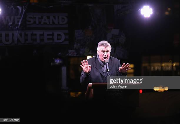 Actor Alec Baldwin impersonates Donald Trump during a 'We Stand United' antiTrump rally on January 19 2017 in New York City Thousands of people...