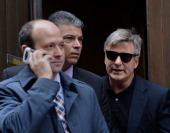 Actor Alec Baldwin leaves Manhattan Criminal Court after testifying against accused stalker Canadian actress Genevieve Sabourin November 12 2013 in...