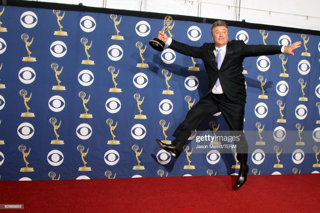 Actor <a gi-track='captionPersonalityLinkClicked' href=/galleries/search?phrase=Alec+Baldwin&family=editorial&specificpeople=202864 ng-click='$event.stopPropagation()'>Alec Baldwin</a> poses in the press room with his Emmy for Outstanding Lead Actor in a Comedy Series for '30 Rock' at the 61st Primetime Emmy Awards held at the Nokia Theatre on September 20, 2009 in Los Angeles, California.