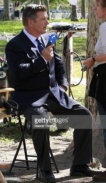 Actor Alec Baldwin seen on the set of the TV show '30 Rock' on location in Brooklyn on October 10 2008 in New York City