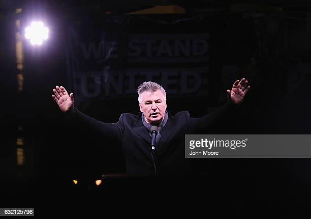 Actor Alec Baldwin speaks during a 'We Stand United' antiTrump rally on January 19 2017 in New York City Thousands of people gathered outside the...