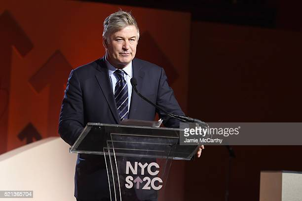 Actor Alec Baldwin speaks onstage during Stand Up To Cancer's New York Standing Room Only presented by Entertainment Industry Foundation with donors...