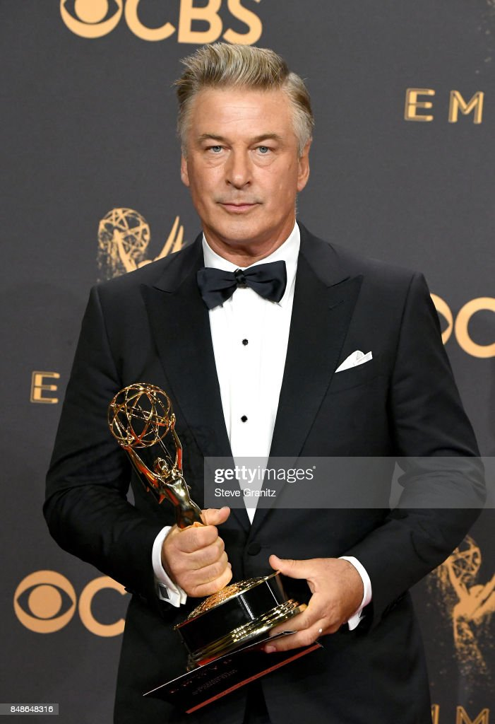 Actor Alec Baldwin, winner of the award for Outstanding Supporting Actor in a Comedy Series for 'Saturday Night Live,' poses in the press room during the 69th Annual Primetime Emmy Awards at Microsoft Theater on September 17, 2017 in Los Angeles, California.