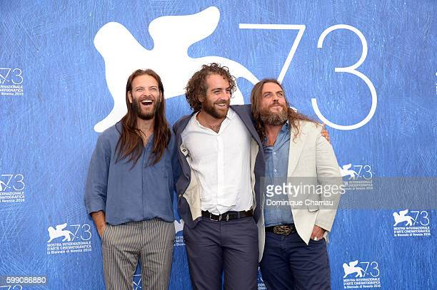 Actor Alessandro Borghi director Michele Vannucci and actor Mirko Frezza attend a photocall for 'I Was A Dreamer' during the 73rd Venice Film...