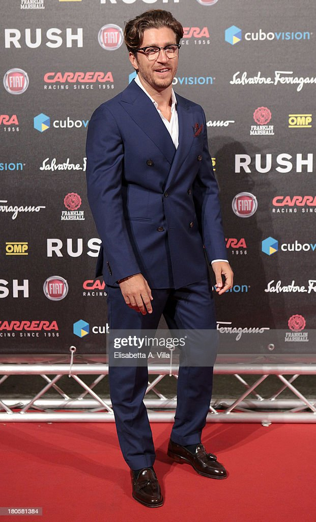 Actor Alessandro Roja attends the 'Rush' premiere at Auditorium della Conciliazione on September 14, 2013 in Rome, Italy.