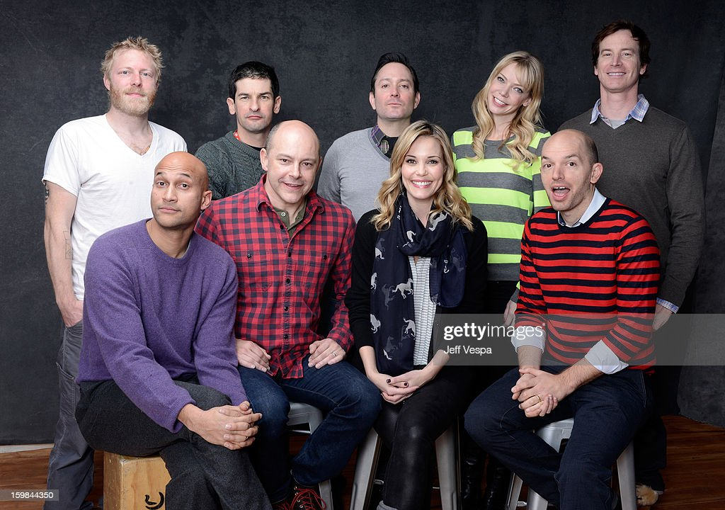Actor Alex Berg, filmmakers Robert Ben Garant, Thomas Lennon, actors Riki Lindhome, Rob Huebel (Bottom L-R) Keegan Michael Key, Rob Corddry, Leslie Bibb, and Paul Scheer pose for a portrait during the 2013 Sundance Film Festival at the WireImage Portrait Studio at Village At The Lift on January 21 2013 in Park City, Utah.