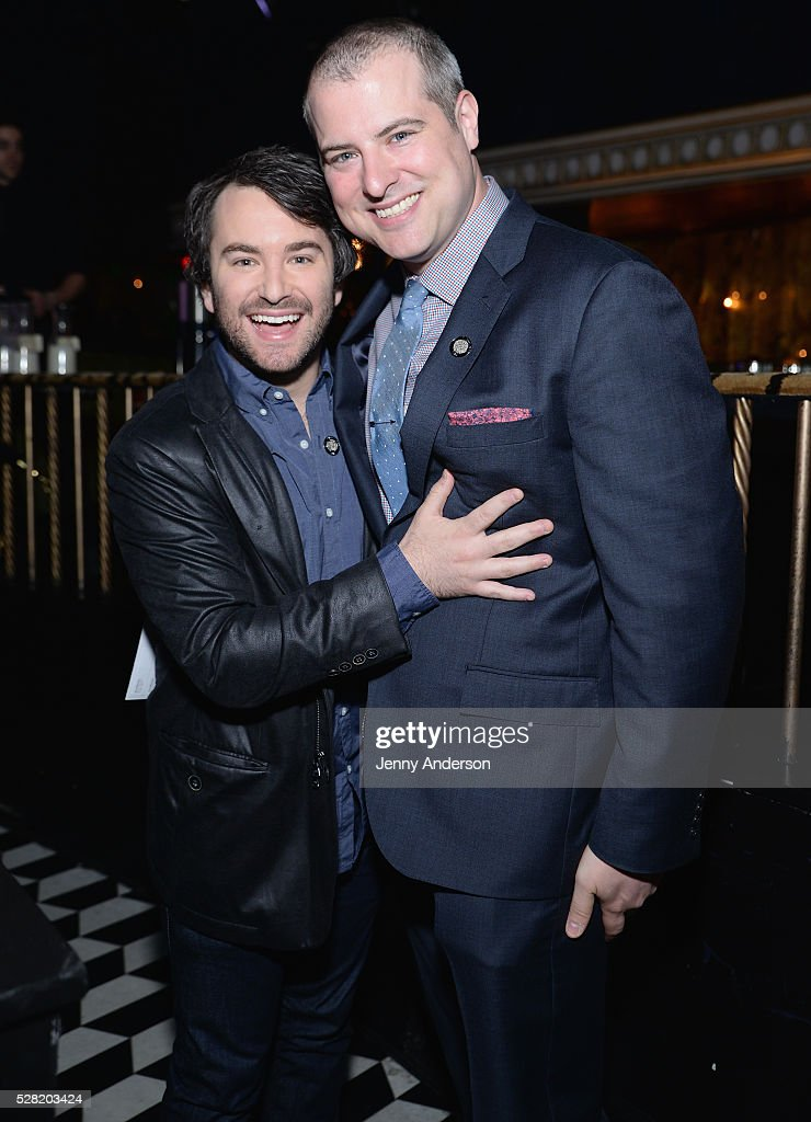 Actor <a gi-track='captionPersonalityLinkClicked' href=/galleries/search?phrase=Alex+Brightman&family=editorial&specificpeople=4645213 ng-click='$event.stopPropagation()'>Alex Brightman</a> (L) and Producer John Johnson attend the 2016 Tony Awards Meet The Nominees Press Reception on May 4, 2016 in New York City.