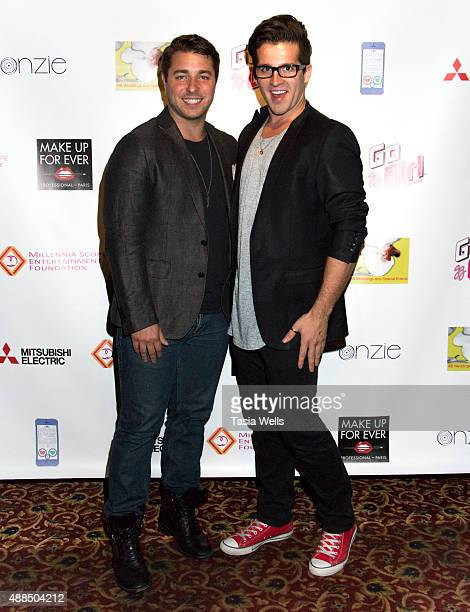Actor Alex David and Eric Harper arrive at Premiere Party For 'Liv Out Loud' at Akbar on September 14 2015 in Los Angeles California