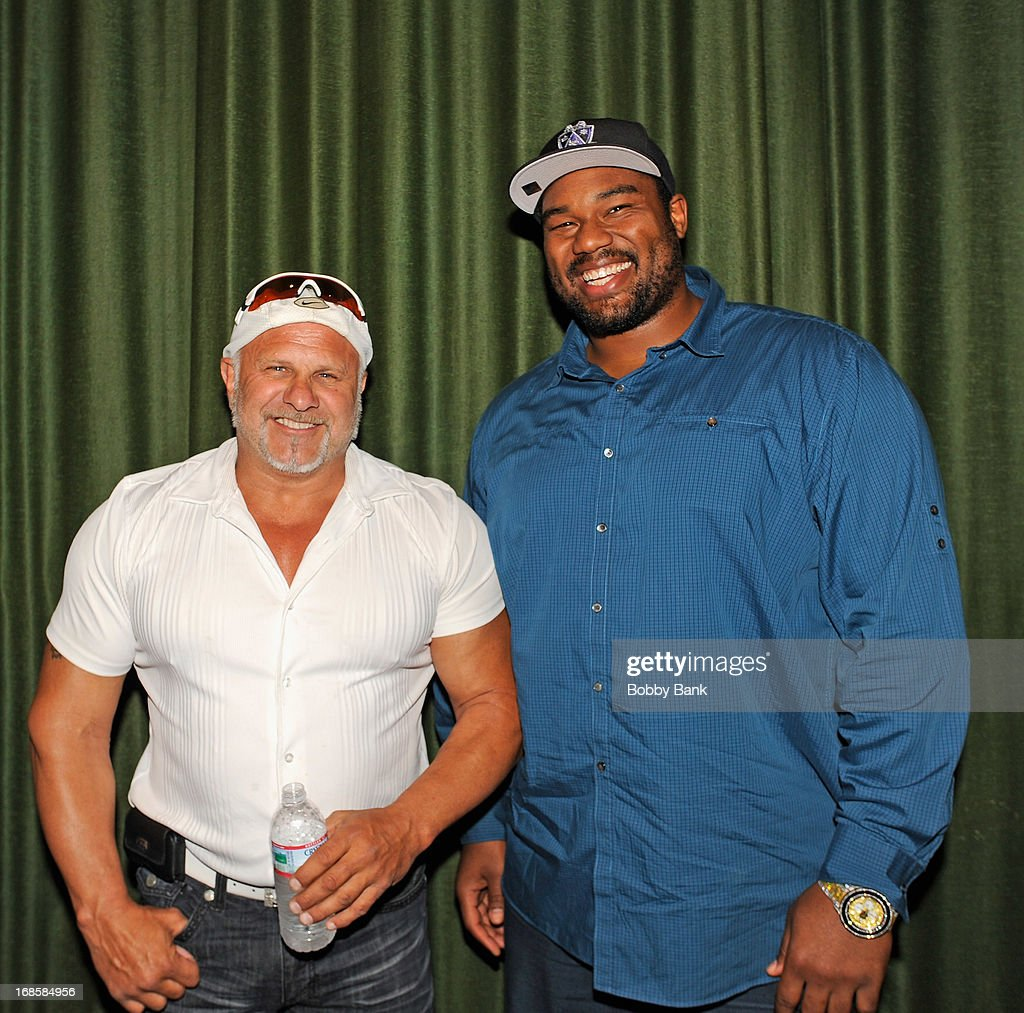 Actor Alex DiMenna and New Orleans Saints player <a gi-track='captionPersonalityLinkClicked' href=/galleries/search?phrase=Jahri+Evans&family=editorial&specificpeople=980582 ng-click='$event.stopPropagation()'>Jahri Evans</a> attend the 'Once Upon A Time in Brooklyn' screening at Resorts Casino Hotel on May 11, 2013 in Atlantic City, New Jersey.