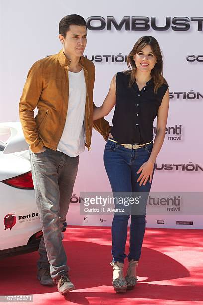 Actor Alex Gonzalez and actress Adriana Ugarte attend the 'Combustion' photocall on April 23 2013 in Belmonte de Tajo near of Madrid Spain