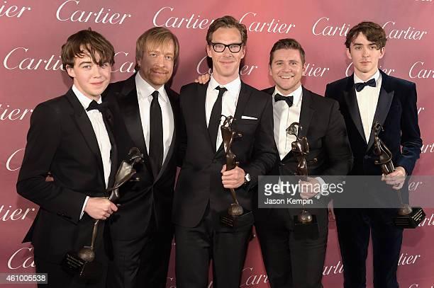 Actor Alex Lawther winner of the Ensemble Performance Award director Morten Tyldum and actors Benedict Cumberbatch Allen Leech and Matthew Beard...