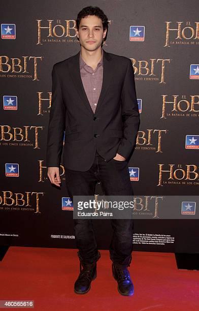 Actor Alex Martinez attends 'El Hobbit La batalla de los cinco ejercitos' premiere photocall at Kinepolis cinema on December 16 2014 in Madrid Spain