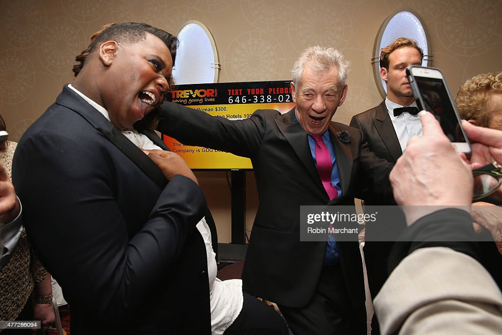 Actor Alex Newell and Sir Ian McKellen attend TrevorLIVE New York honoring Sir Ian McKellen Representative Ryan Fecteau and Johnson Johnson for the...