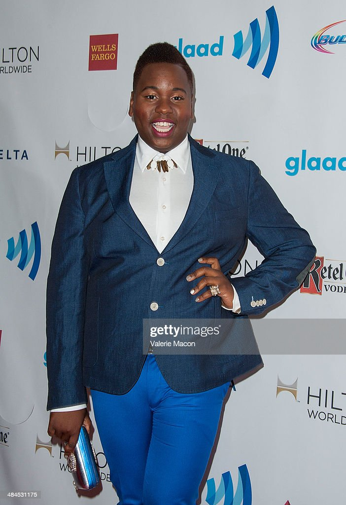Actor <a gi-track='captionPersonalityLinkClicked' href=/galleries/search?phrase=Alex+Newell&family=editorial&specificpeople=9068548 ng-click='$event.stopPropagation()'>Alex Newell</a> arrives at the 25th Annual GLAAD Media Awards at The Beverly Hilton Hotel on April 12, 2014 in Beverly Hills, California.