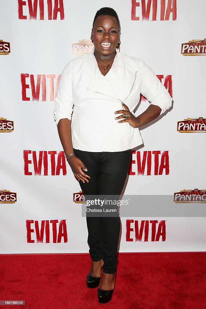 Actor <a gi-track='captionPersonalityLinkClicked' href=/galleries/search?phrase=Alex+Newell&family=editorial&specificpeople=9068548 ng-click='$event.stopPropagation()'>Alex Newell</a> arrives at the opening night red carpet for 'Evita' at the Pantages Theatre on October 24, 2013 in Hollywood, California.