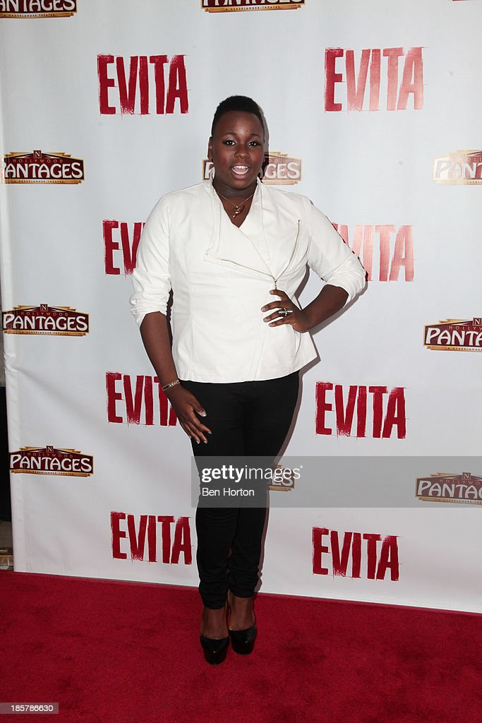 Actor <a gi-track='captionPersonalityLinkClicked' href=/galleries/search?phrase=Alex+Newell&family=editorial&specificpeople=9068548 ng-click='$event.stopPropagation()'>Alex Newell</a> attends the 'Evita' Los Angeles opening night at the Pantages Theatre on October 24, 2013 in Hollywood, California.