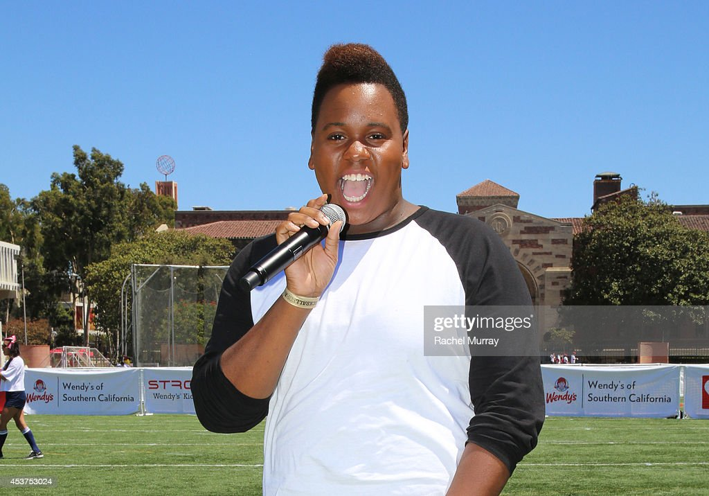 Actor <a gi-track='captionPersonalityLinkClicked' href=/galleries/search?phrase=Alex+Newell&family=editorial&specificpeople=9068548 ng-click='$event.stopPropagation()'>Alex Newell</a> sings the Star–Spangled Banner to kick off the celebrity game during Kickball For A Home - Celebrity Challenge presented by Dave Thomas Foundation For Adoption at USC on August 16, 2014 in Los Angeles, California.