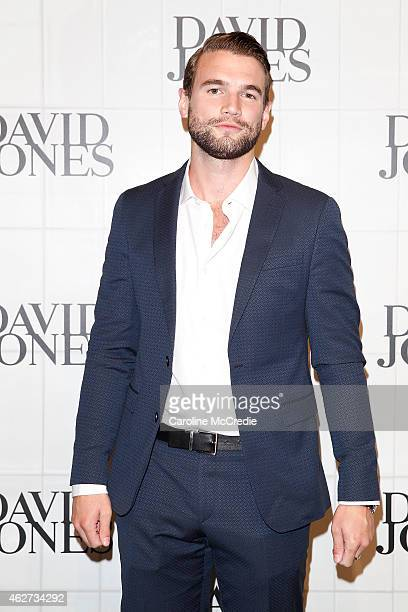 Actor Alex Russell arrives at the David Jones Autumn/Winter 2015 Collection Launch at David Jones Elizabeth Street Store on February 4 2015 in Sydney...