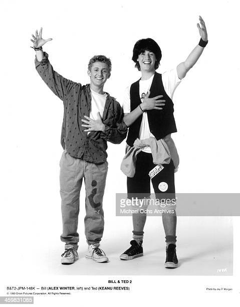 Actor Alex Winter and Keanu Reeves pose for the movie 'Bill Ted's Excellent Adventure' circa 1989