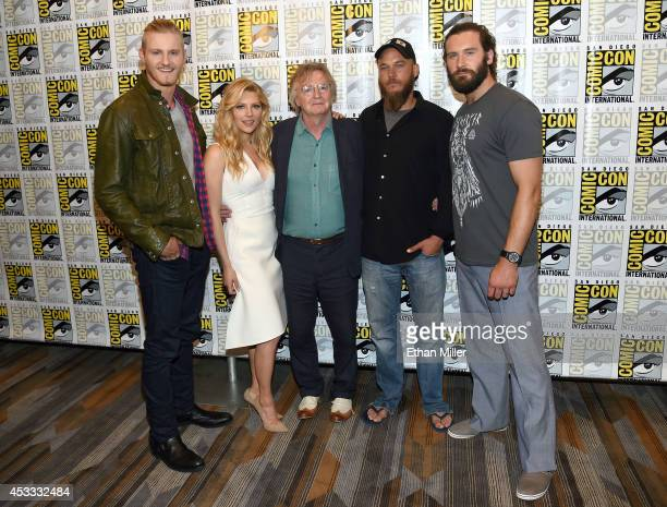Actor Alexander Ludwig actress Katheryn Winnick writer/producer Michael Hirst and actors Travis Fimmel and Clive Standen attend a media room for the...