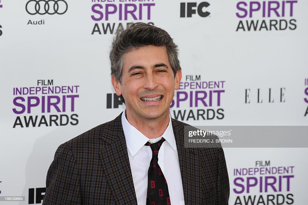 Actor Alexander Payne arrives on the red carpet on February 25, 2012 for the Independent Spirit Awards in Santa Monica, California.