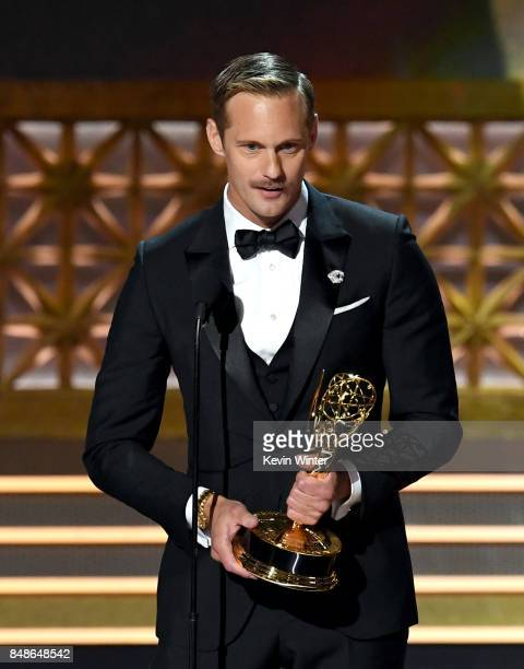 Actor Alexander Skarsgard accepts Outstanding Supporting Actor in a Limited Series or Movie for 'Big Little Lies' onstage during the 69th Annual...