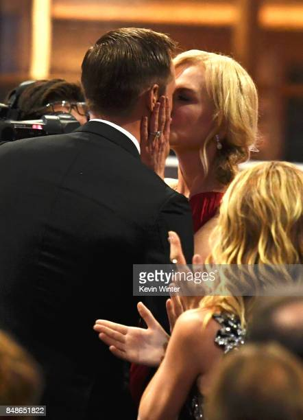 Actor Alexander Skarsgard accepts Outstanding Supporting Actor in a Limited Series or Movie for 'Big Little Lies' with actor Nicole Kidman onstage...