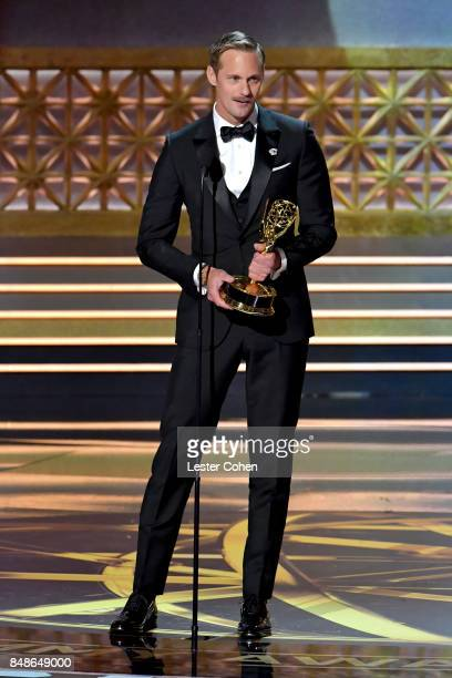 Actor Alexander Skarsgard accepts the Outstanding Supporting Actor in a Limited Series or Movie award for 'Big Little Lies' onstage during the 69th...