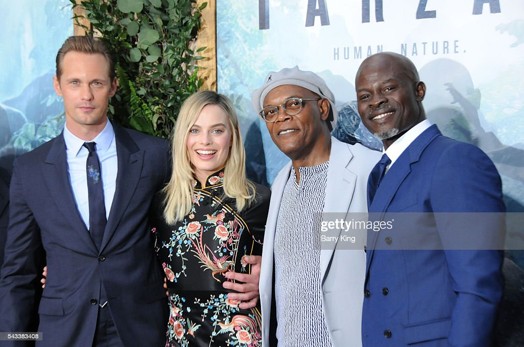 Actor Alexander Skarsgard, actress <a gi-track='captionPersonalityLinkClicked' href=/galleries/search?phrase=Margot+Robbie&family=editorial&specificpeople=5781742 ng-click='$event.stopPropagation()'>Margot Robbie</a> and actors <a gi-track='captionPersonalityLinkClicked' href=/galleries/search?phrase=Samuel+L.+Jackson&family=editorial&specificpeople=167234 ng-click='$event.stopPropagation()'>Samuel L. Jackson</a> and <a gi-track='captionPersonalityLinkClicked' href=/galleries/search?phrase=Djimon+Hounsou&family=editorial&specificpeople=204469 ng-click='$event.stopPropagation()'>Djimon Hounsou</a> attend the premiere of Warner Bros. Pictures' 'The Legend Of Tarzan' at TCL Chinese Theatre on June 27, 2016 in Hollywood, California.