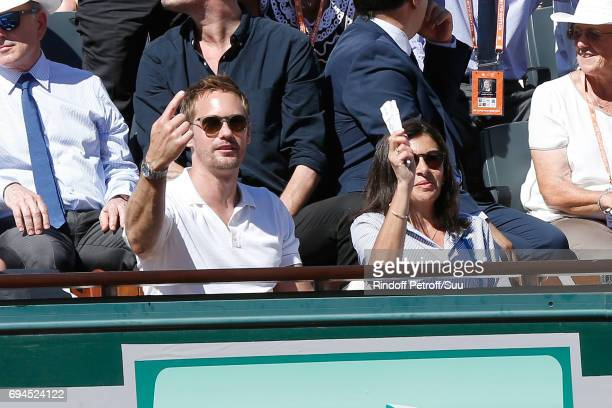 Actor Alexander Skarsgard and Mayor of Paris Anne Hidalgo attend the Women Final of the 2017 French Tennis Open Day Fourteen at Roland Garros on June...