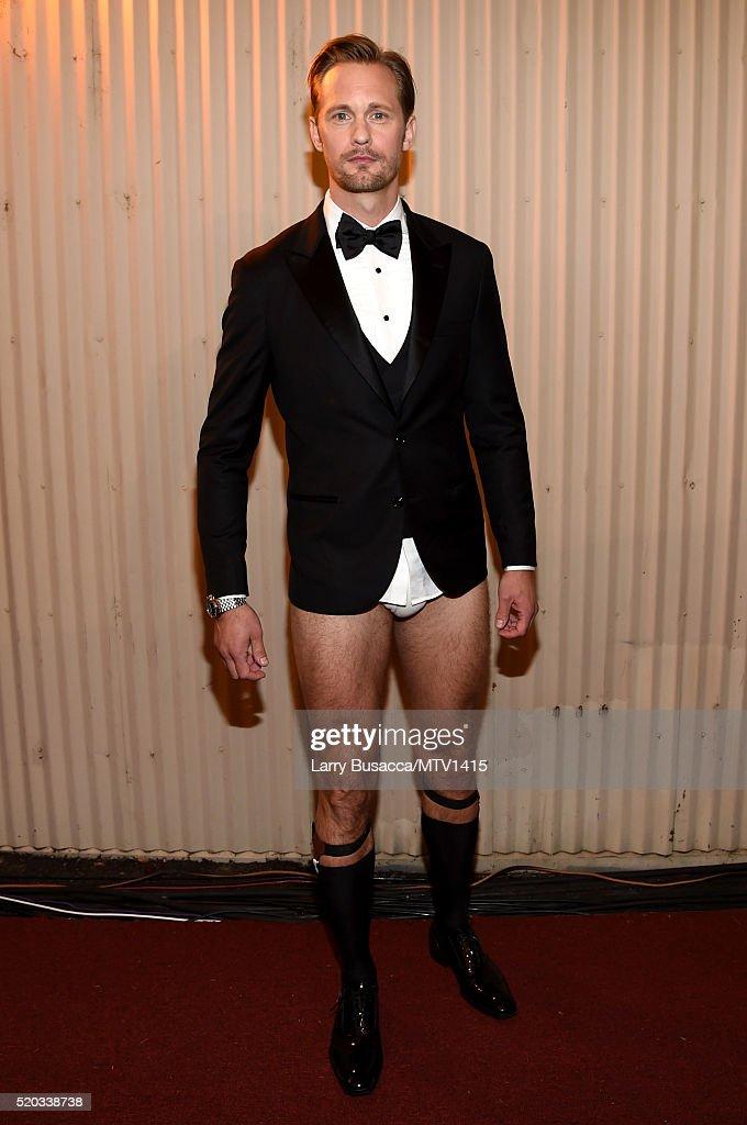 Actor Alexander Skarsgard attends the 2016 MTV Movie Awards at Warner Bros Studios on April 9 2016 in Burbank California MTV Movie Awards airs April...