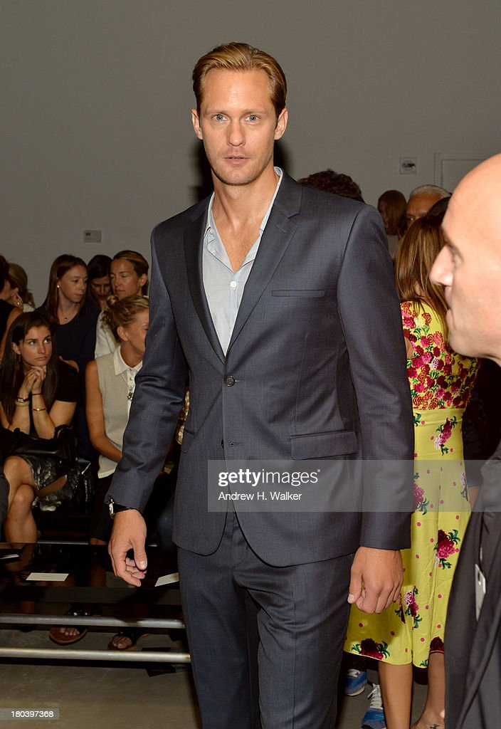 Actor Alexander Skarsgard attends the Calvin Klein Collection fashion show during MercedesBenz Fashion Week Spring 2014 at Spring Studios on...