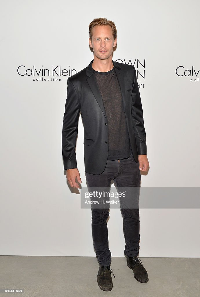Actor Alexander Skarsgard attends the Calvin Klein Collection post fashion show event during MercedesBenz Fashion Week Spring 2014 at Spring Studios...