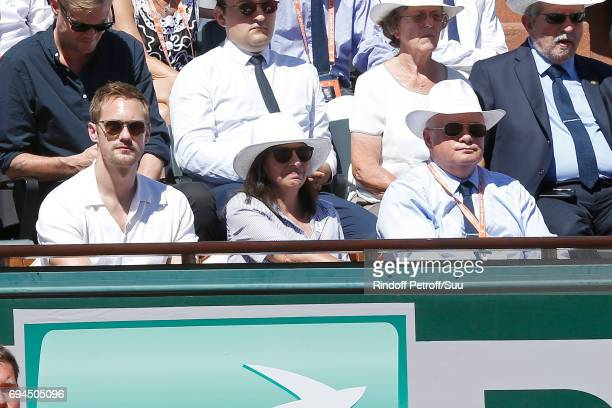 Actor Alexander Skarsgard Mayor of Paris Anne Hidalgo and President of French Tennis Federation Bernard Giudicelli attend the Women Final of the 2017...