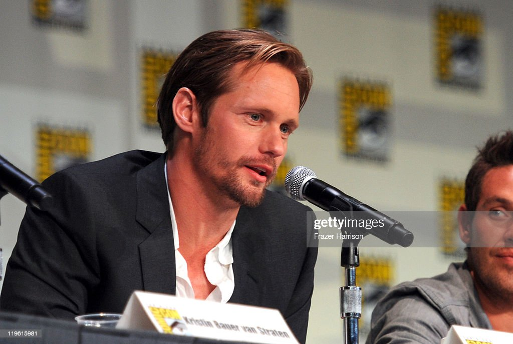 Actor Alexander Skarsgard speaks at HBO's 'True Blood' Panel during Comic-Con 2011 and the San Diego Convention Center on July 22, 2011 in San Diego, California.
