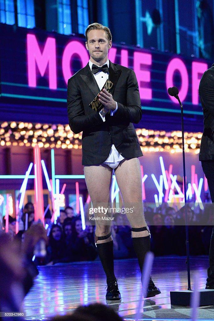 Actor Alexander Skarsgard speaks onstage during the 2016 MTV Movie Awards at Warner Bros Studios on April 9 2016 in Burbank California MTV Movie...