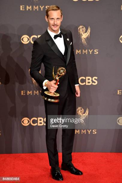 Actor Alexander Skarsgard winner of the Outstanding Supporting Actor in a Limited Series or Movie award for 'Big Little Lies' poses in the press room...