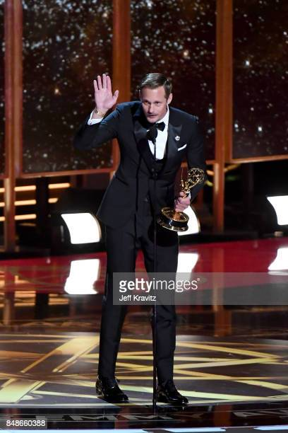 Actor Alexander Skarsgård accepts the Outstanding Supporting Actor in a Limited Series or Movie award for 'Big Little Lies' onstage during the 69th...