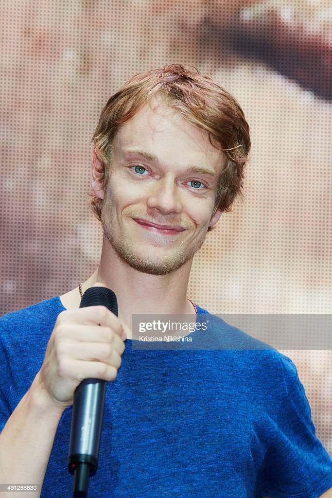 Actor Alfie Allen speaks on stage during Comic Con Russia 2015 on October, 4 in Crocus Expo Exhibition Center in Moscow, Russia.