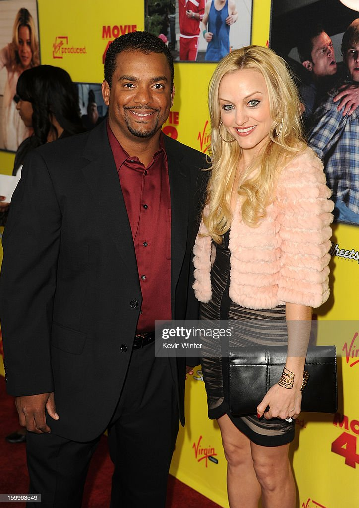 Actor <a gi-track='captionPersonalityLinkClicked' href=/galleries/search?phrase=Alfonso+Ribeiro&family=editorial&specificpeople=628950 ng-click='$event.stopPropagation()'>Alfonso Ribeiro</a> (L) and Angela Unkrich attend the premiere of Relativity Media's 'Movie 43' at TCL Chinese Theatre on January 23, 2013 in Hollywood, California.
