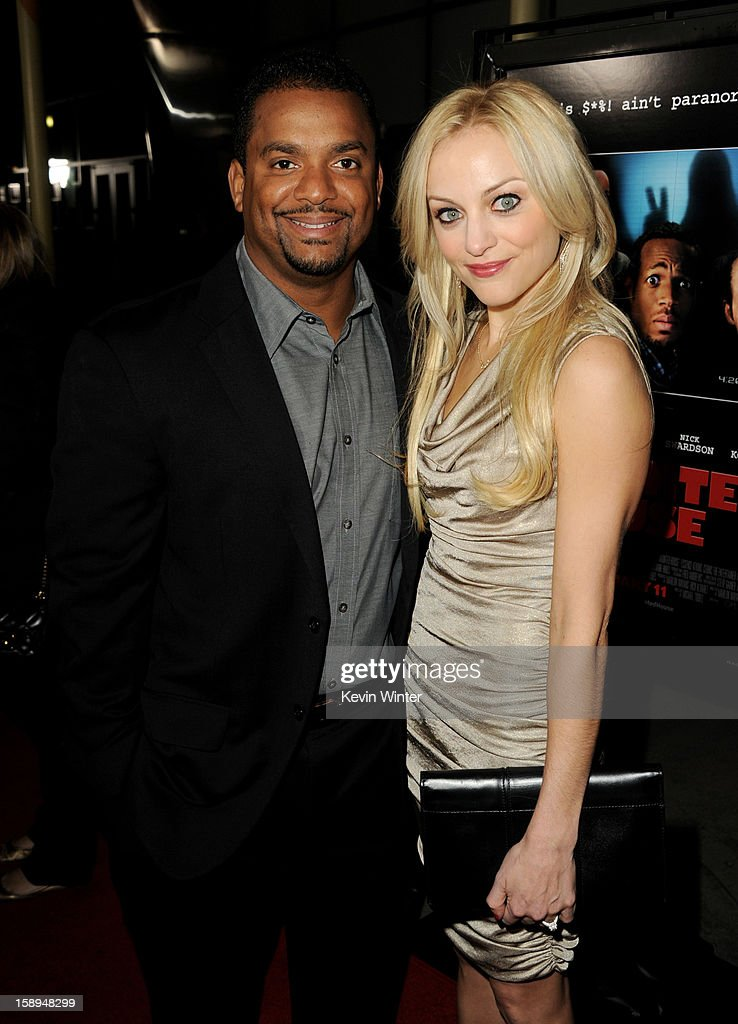 Actor Alfonso Ribeiro (L) and his wife Robin arrive at the premiere of Open Road Films' 'A Haunted House' at the Arclight Theatre on January 3, 2013 in Los Angeles, California.